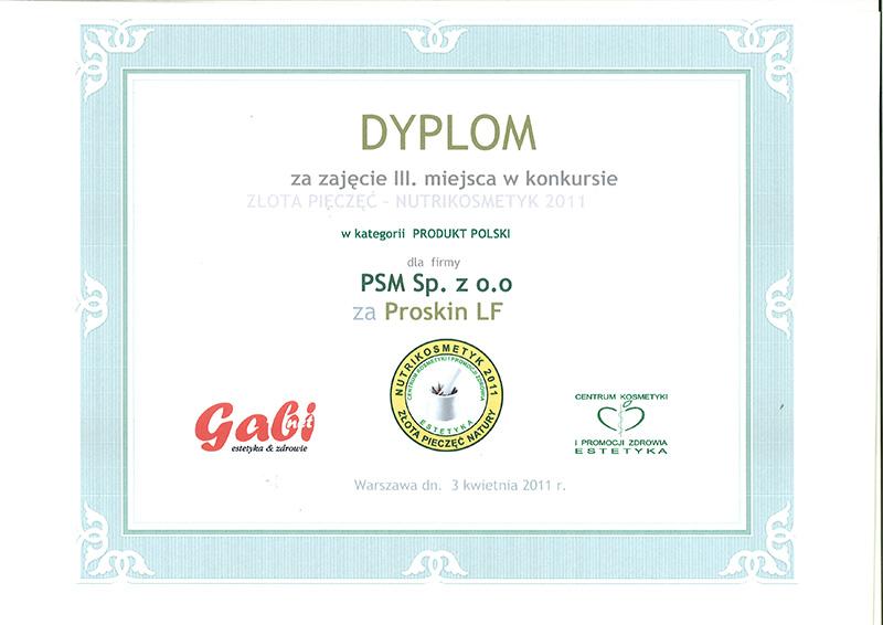 Dyplom dla Proskin LF